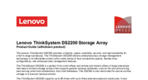 Lenovo ThinkSystem DS2200 Product Guide