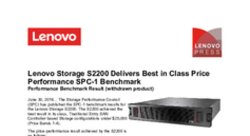 Lenovo Storage S2200 Delivers Best in Class SPC-1 Benchmark