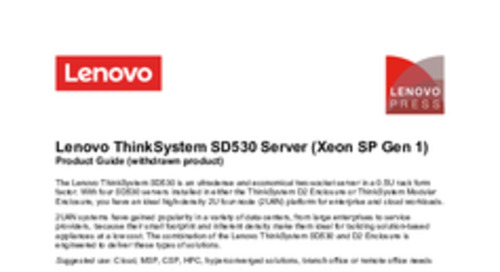 Lenovo ThinkSystem SD530 Product Guide
