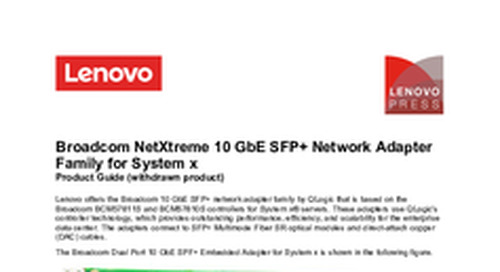 Broadcom NetXtreme 10 GbE SFP+ Network Adapter Family for System x