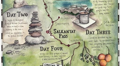 The Art of Trekking: Hand-drawn map of Salkantay