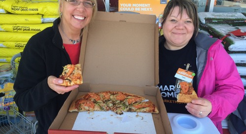 The owner from Boston pizza just gave the ladies a moment Free pizza!! : ) #MarketMoments #bostonpizza #welovefood https