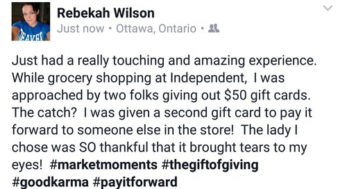 "Pam Smith on Twitter : """"@Gen_SEVEN : Just paid it forward by giving $50 to someone very grateful!  #marketmoments https"
