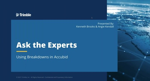 Ask the Expert - Using Breakdowns in Accubid