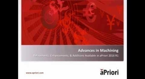 2016 R1 Advancements in Cost Analyzing Machined Components