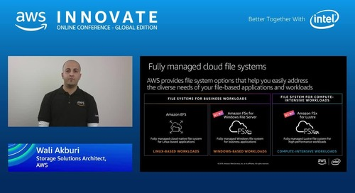 Moving files and block based solutions to AWS - AWS Innovate