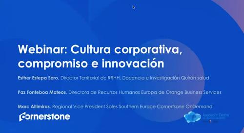 Webinar Cultura corporativa, compromiso e innovación Cornerstone y AEDIPE