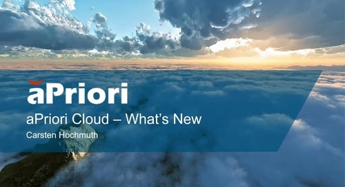 What's New in aPriori 2019 R2 Cloud