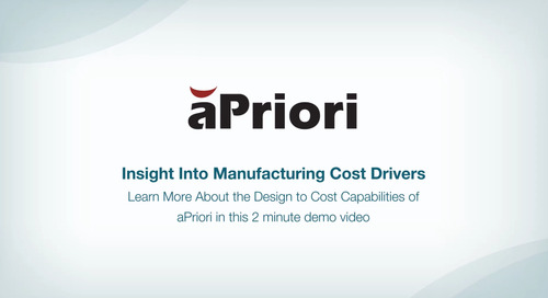 Design to Cost Capabilities of aPriori