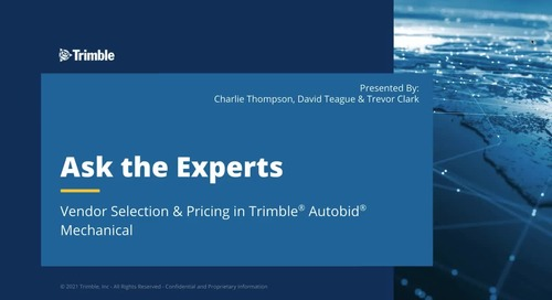 Ask the Expert - Vendor Selection and Pricing in Trimble AutoBid