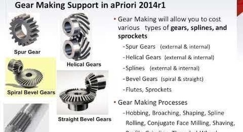 Gear Making Support in aPriori 2014 R1