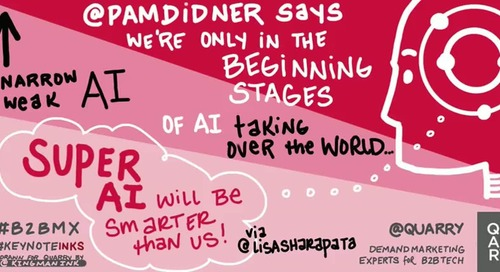 @PamDidner at @B2BMX reports AI is only in the beginning stages...Super AI will be smarter than humans! (via @lisasharapata)