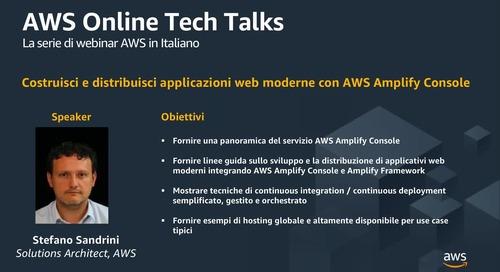 Costruisci e distribuisci applicazioni web moderne con AWS Amplify Console(1)