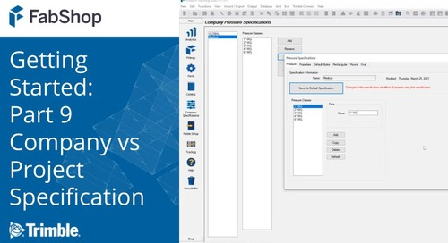 Getting Started with FabShop: Part 9 Company Versus Project Specifications