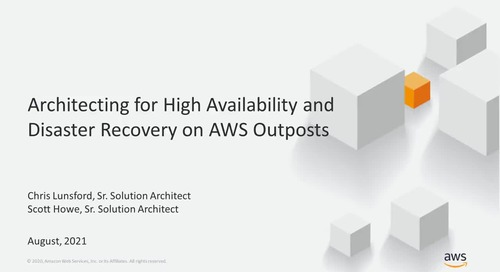 Architecting for High Availability and Disaster Recovery on AWS Outposts