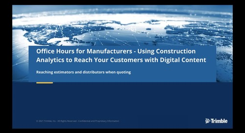 [On-Demand] Session 2: Using Construction Analytics: How Estimators are Leveraging Digital Content to Create Distributor Quotes