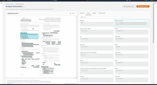 Building a document processing solution with Amazon Textract, database, data lakes, and analytics on