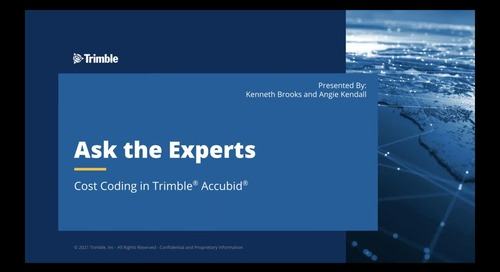 Ask the Expert - Cost Coding in Trimble® Accubid®