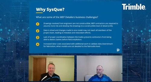[Trimble MEP Special Event] SysQue in Action New Upcoming Functionality for MEP Detailers