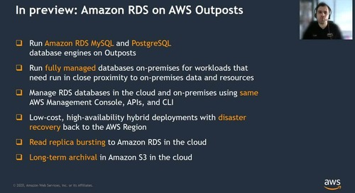 AWS Outposts: Desenvolvido para baixa latência e processamento de dados local