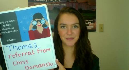 Thomas, Chris Domanski referred me on to you...