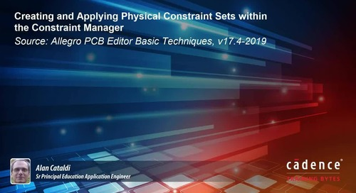 Creating and Applying Physical Constraint Sets within the Constraint Manager