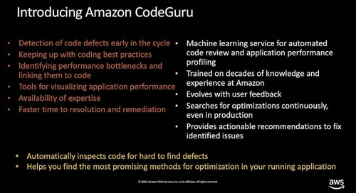 Amazon CodeGuru: Automate code reviews and application performance recommendations (Level 400) - AWS Innovate