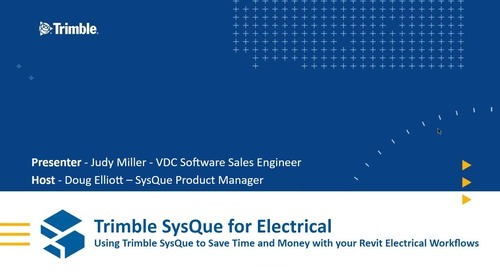 [Webinar Recording] Using Trimble SysQue to Save Time and Money With Your Revit Electrical Workflows