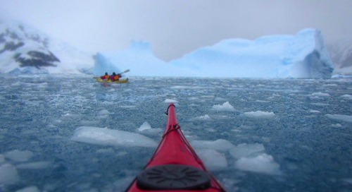 Kayaking in Antarctica, gliding through the ice