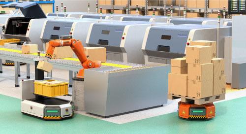 人工智能机器人穿行于智慧工厂中