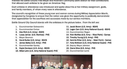 Battle Ground Military Appreciation Night