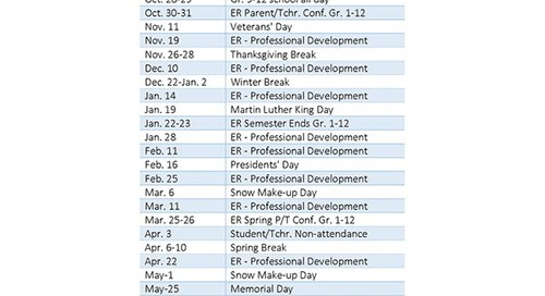 2014 - 2015 KEY DATES FOR FAMILIES