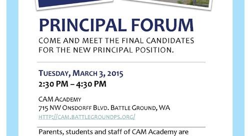 Meet the Candidates at Principal Forums