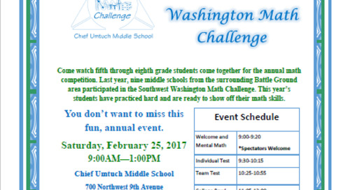 Join us at the 5th Annual Southwest Washington Math Challenge