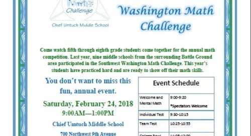 Parents, community invited to attend the 6th Annual Southwest Washington Math Challenge