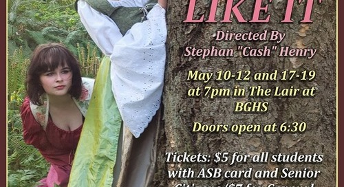 Battle Ground High School Drama Club to perform Shakespeare's 'As You Like It'