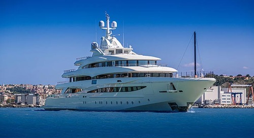 The new 79-metre CRN M/Y 135 leaves the yard marina