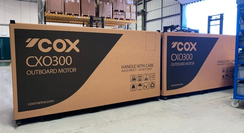 Cox Powertrain celebrates as first 300hp diesel outboardsroll off the production lineready for delivery