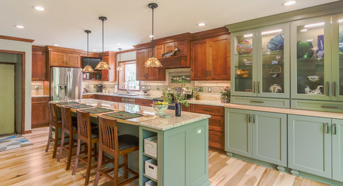New This Week: 3 Warm Kitchens That Mix Blue, Green and Wood (7 photos)