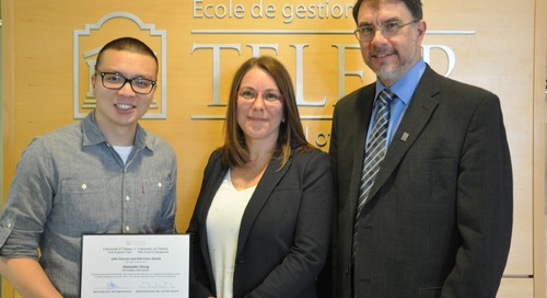 Graduate students thrive at the Telfer School of Management: Alexander Chung wins the John Duncan and Deb Cross Award