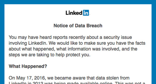 What's up with this LinkedIn Data Breach message?