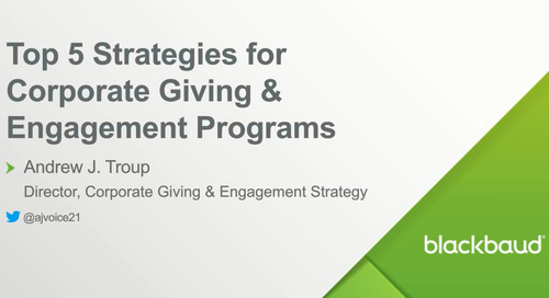 Webinar: Top 5 Strategies for Corporate Giving and Engagement Programs