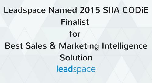 Leadspace Named 2015 SIIA CODiE Finalist for Best Sales & Marketing Intelligence Solution