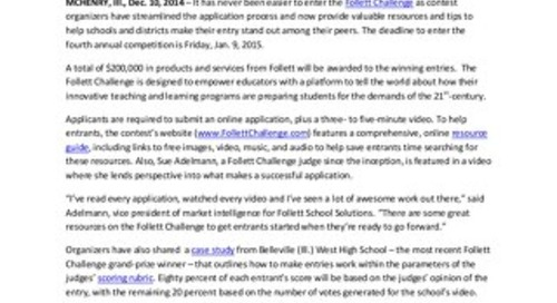 News Release: Follett Challenge Deadline Set for Jan. 9
