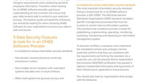 Data security and privacy in EHS software