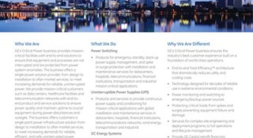 GE Critical Power Overview