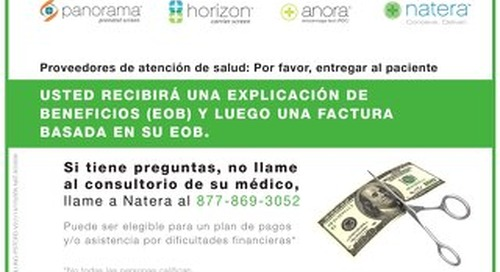 Natera Billing Postcard - Spanish