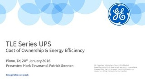TLE Series UPS: Cost of Ownership & Energy Efficiency