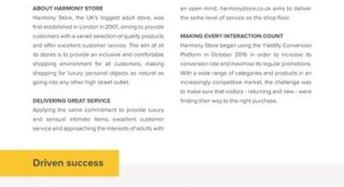 Yieldify case study - Harmony Store