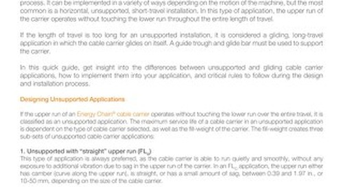 Unsupported vs Gliding Cable Carrier Applications